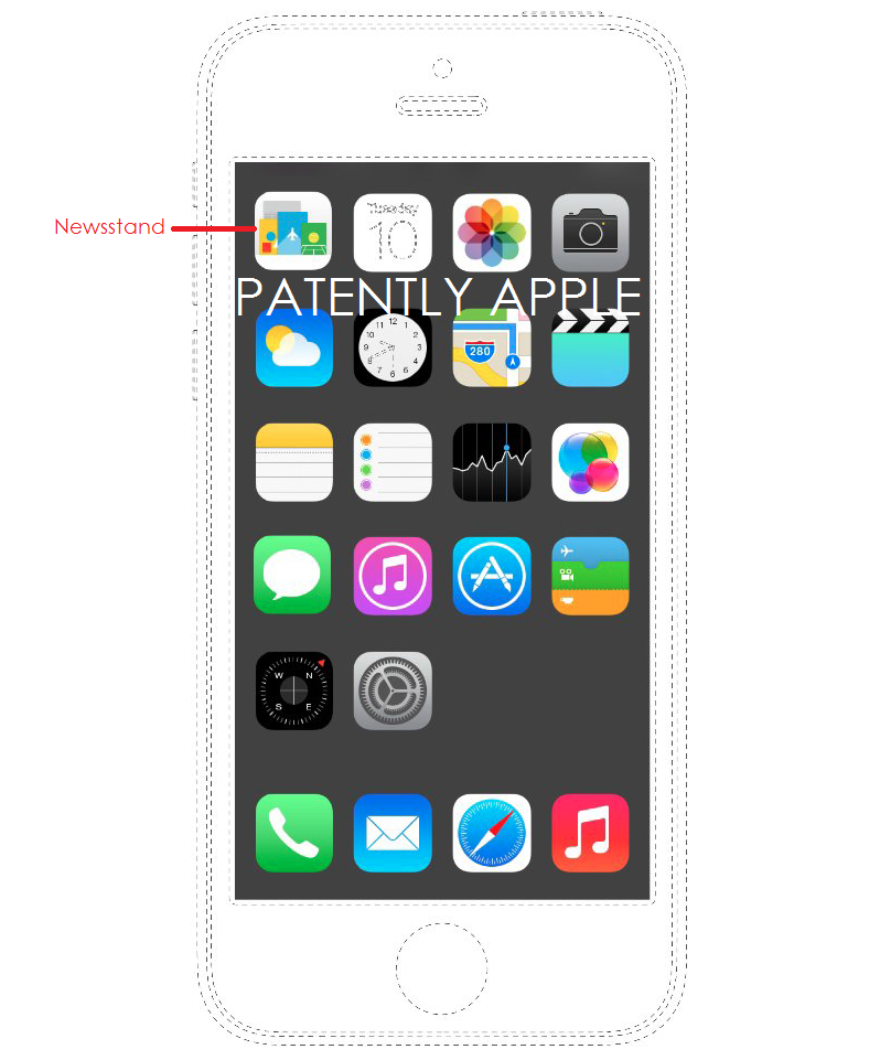 3AF. APPLE IPHONE HOMEPAGE WITH NEWSSTAND APP ILLUSTRATED