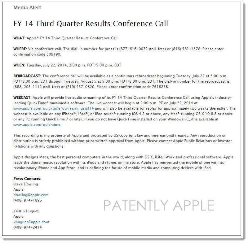 2AF apple FY 14 3RD Q CONFERENCE CALL