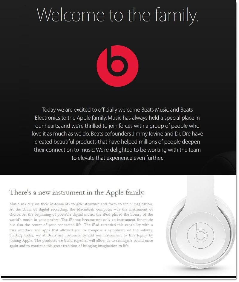 4AAF2 Apple welcomes Beats to the Apple Family