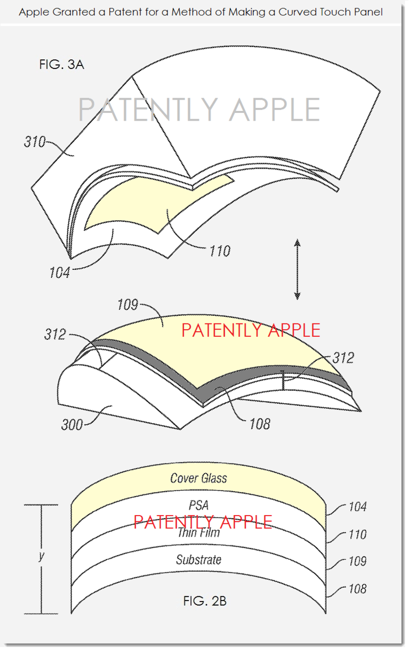 2AF - APPLE GRANTED PATENT FIGS 3A & 2B MAKING CURVED TOUCH DISPLAY