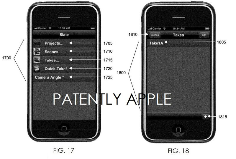 4AF - APPLE GRANTED A PATENT FOR AN E-CLAPPERBOARD FIGS. 17 AND 18