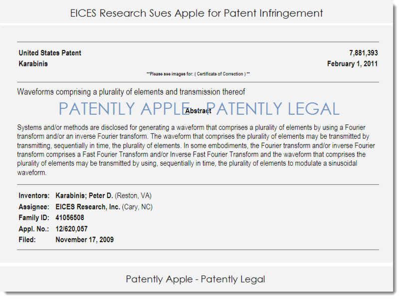 2AF - APPLE SUED BY EICES RESEARCH