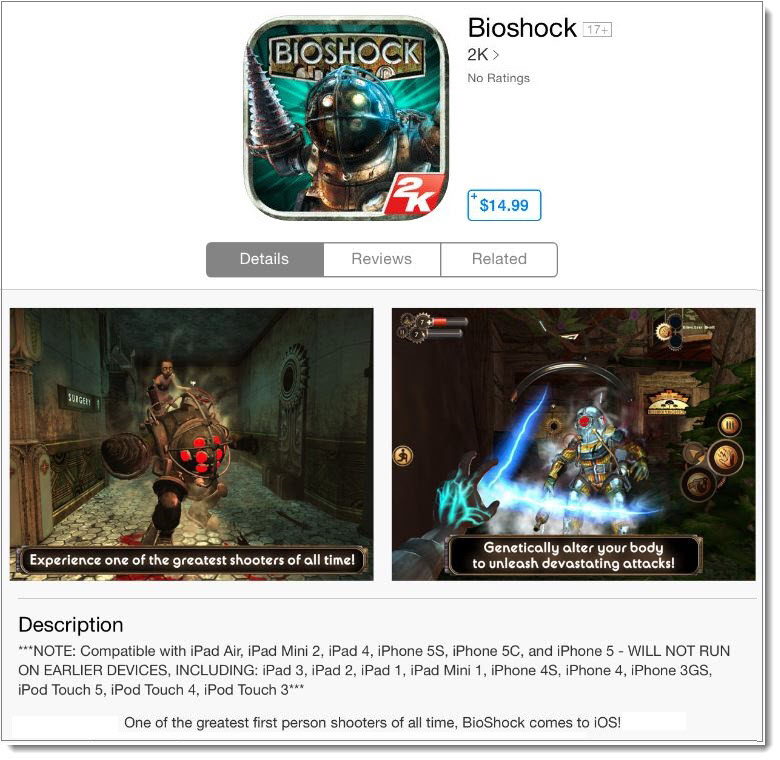 The Phenomenal BioShock Game is now available on iTunes