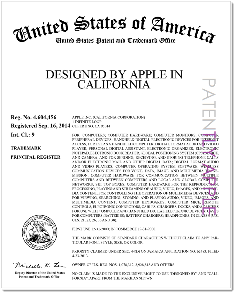 2AF2 -  APPLE RTM - DESIGNED BY APPLE IN CALIFORNIA - USPTO CERTIFICATE - 86096239_Page_1
