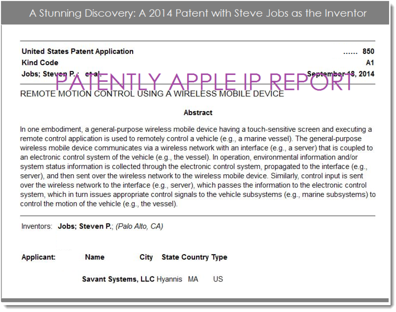 2AF- SAVANT SYSTEMS 2014 PATENT WITH STEVE JOBS NAMED AS INVENTIOR