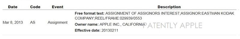 4AF2 - APPLE ACQUIRED KODAK PATENT IN 2013