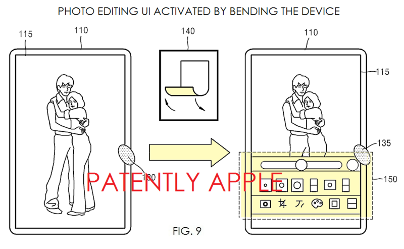 2AF PATENTLY APPLE REPORT - PHOTO EDITING TOOLS ACTIVATED BY BENDING THE DEVICE - SAMSUNG