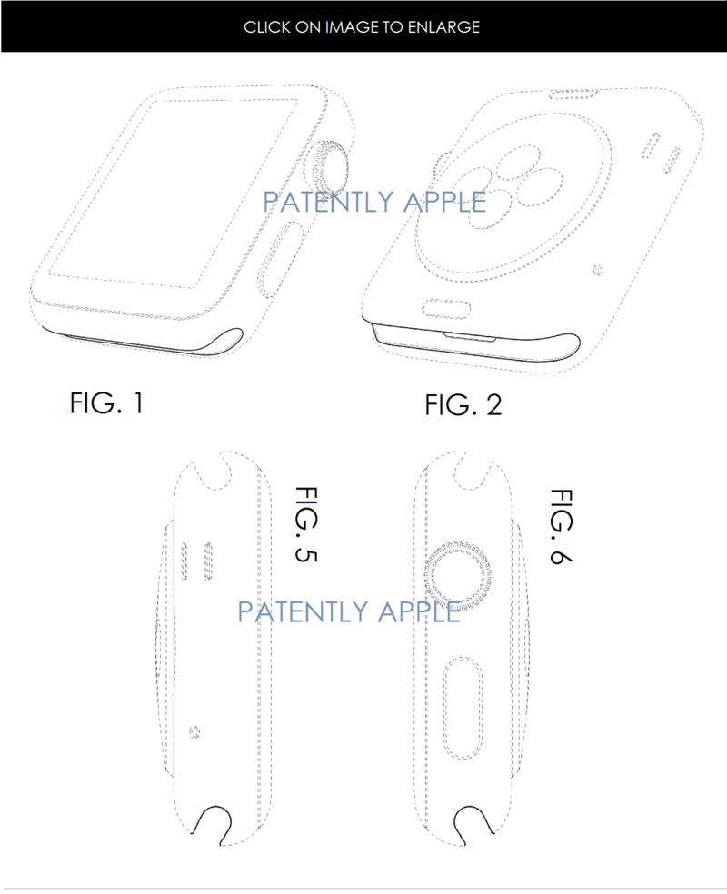6AF - apple watch design patent, 4 patent figures for slide-in strap mechanism