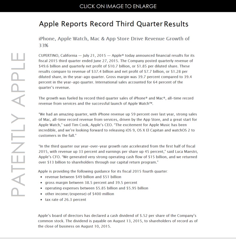 2.1 APPLE Q3 2015 FINANCIAL RESULTS