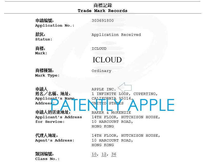 2af 55 Hong Kong Apple TM iCloud ... for vehicles
