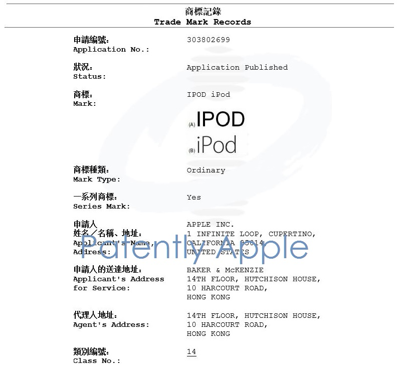 2.1 ipod under class 14 for watches in Hong Kong