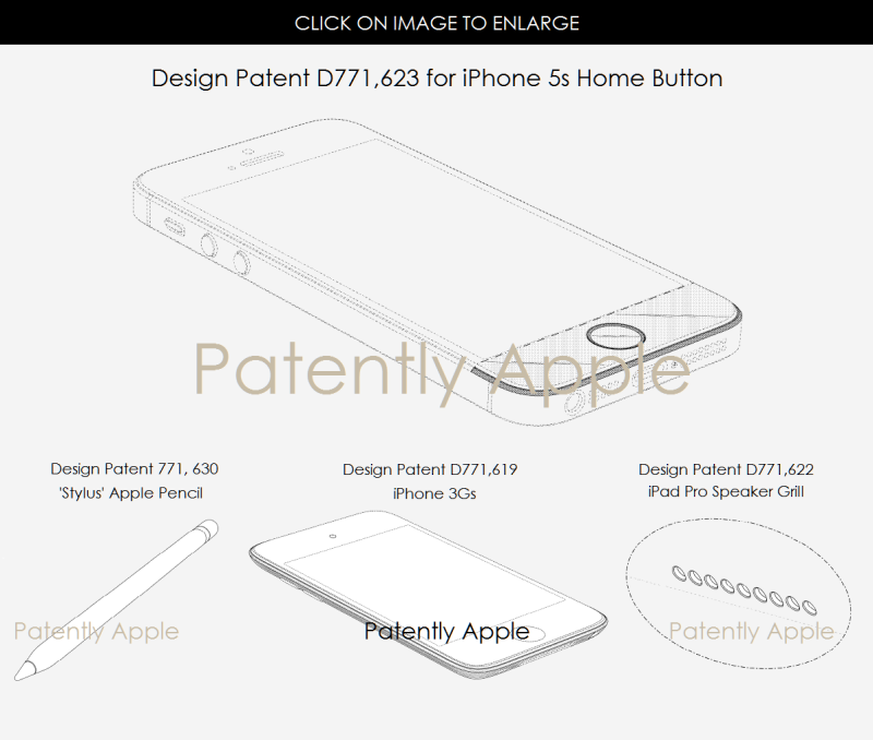 5AFX 99 APPLE DESIGN PATENTS for Home Button iphone 5s, apple pencil & More