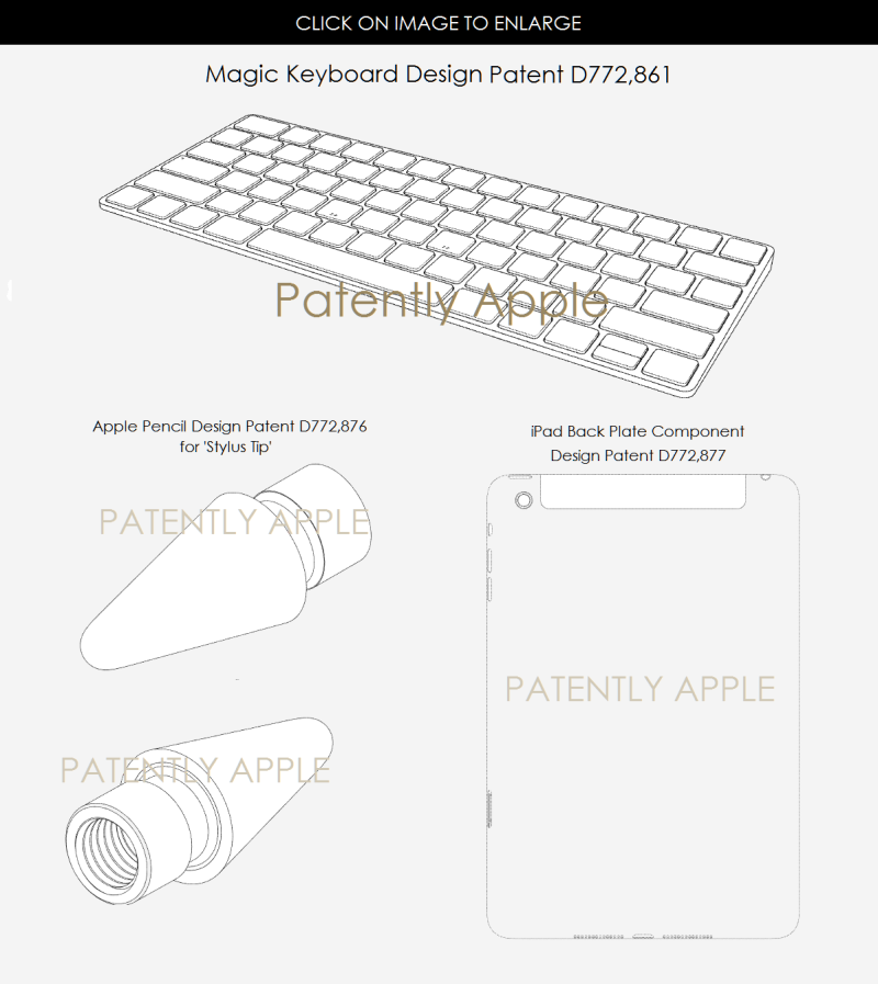 4AF 88 DESIGN PATENTS FOR MAGIC KEYBOARD, APPLE PENCIL STYLUS TIPS, IPAD BACK PLATE