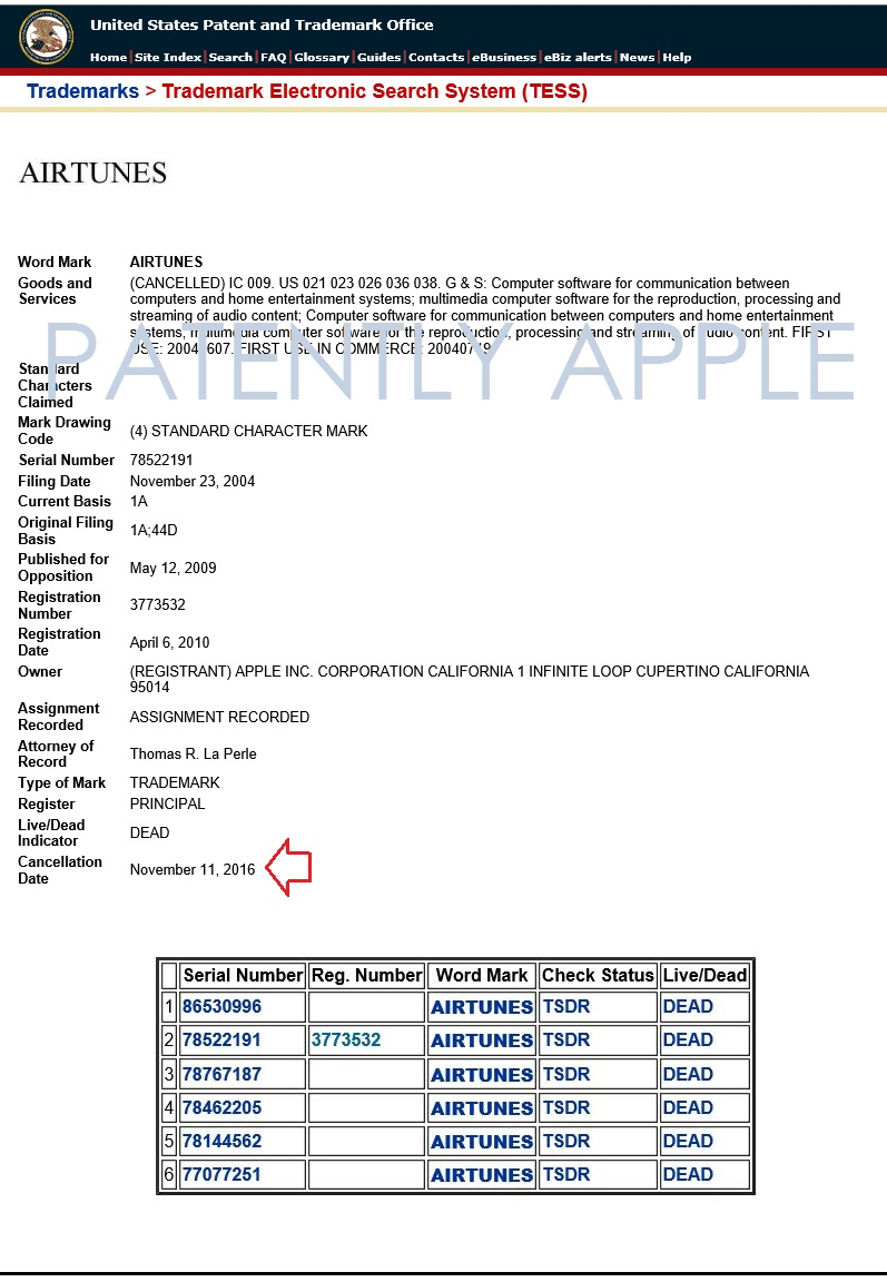 2af X99 USPTO FORM SHOWING AIRTUNES WAS OFFICIALLY CANCELLED
