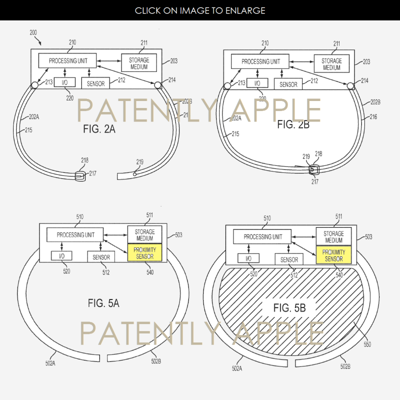 2af 88 apple wearable's patent figs 2a,2b, 5a, 5b