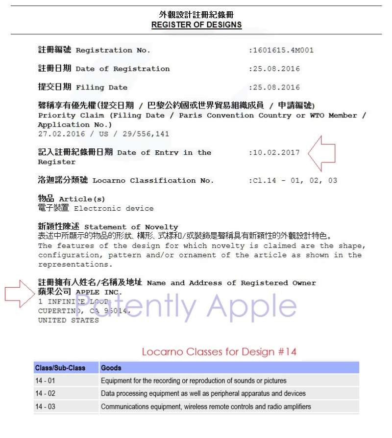 4 AF X 99    Hong Kong Design Patent Registration - Granted to Apple Feb 10, 2017