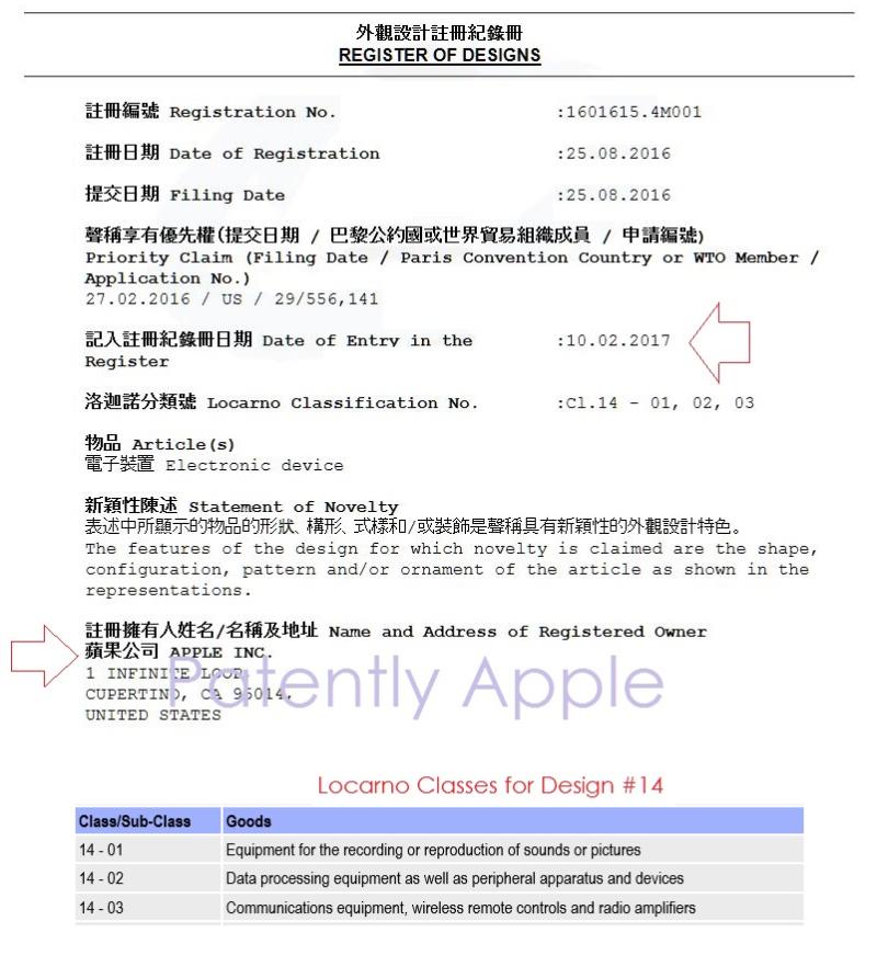 4 AF X 99    Hong Kong Design Patent Registration - Granted to Apple Feb 10, 2017