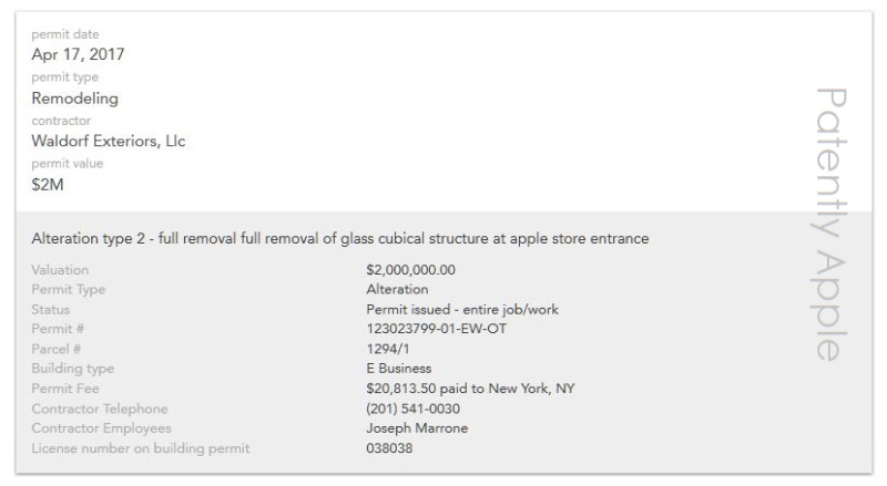 2af XX 99 apple permit for renovating fifth ave ny store