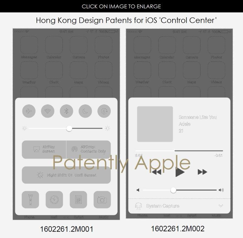 4AF X99 DESIGN PATENT HONG KONG FOR APPLE'S CONTROL CENTER