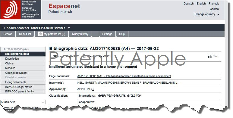 4af x 9999 apple australian patent home automation