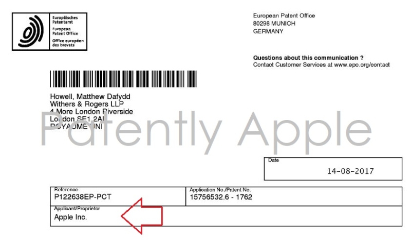 8 German OFFICE filing  examiner  references Apple as applicant