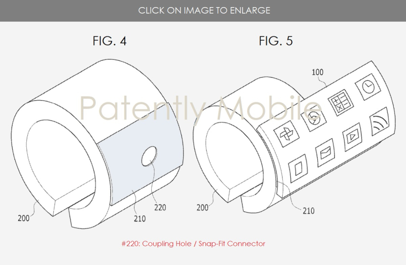 3AF SAMSUNG WEARABLE DEVICE WITH VARYING DISPLAY FIGS. 4 & 5 PATENTLY MOBILE