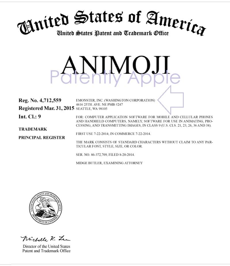 2 USPTO RTM CERTIFICATE FOR EMONSTER FOR ANIMOJI