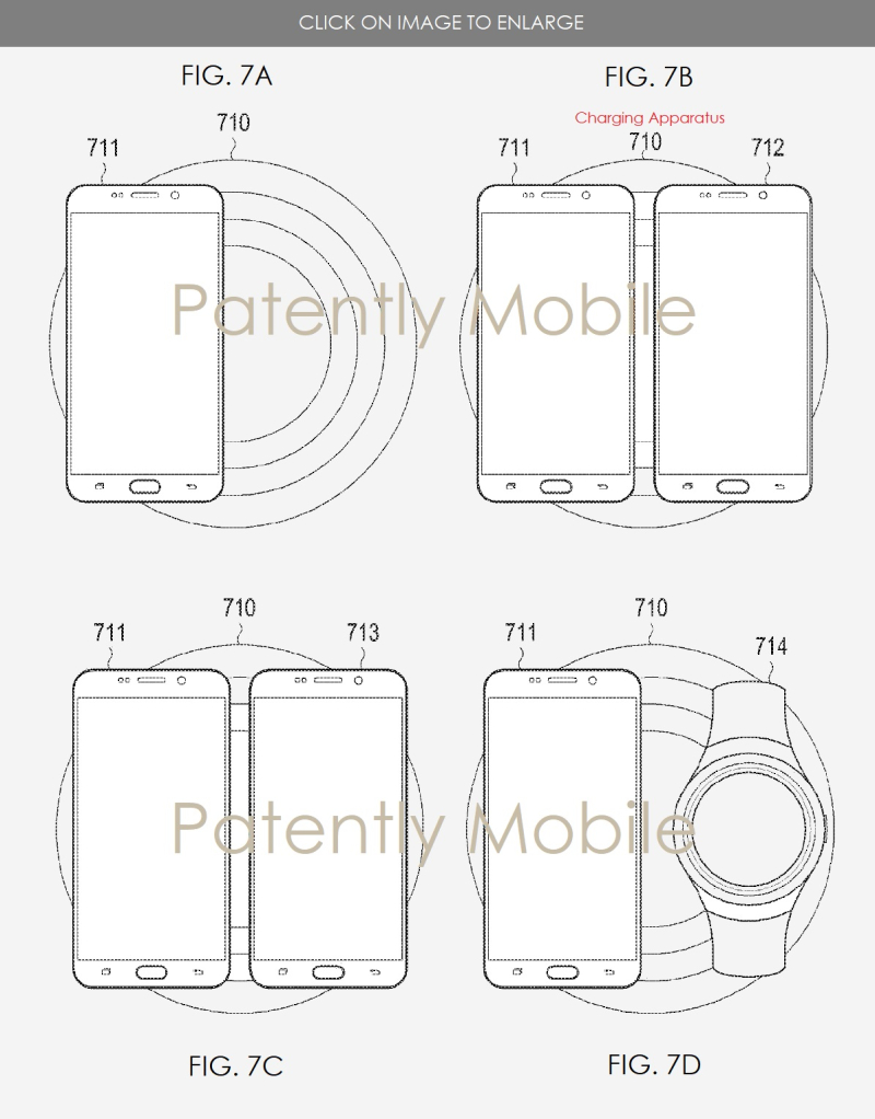 3 SAMSUNG PATENT FIGS 7A-7D WIRELESS CHARGER  DUAL CHARGING