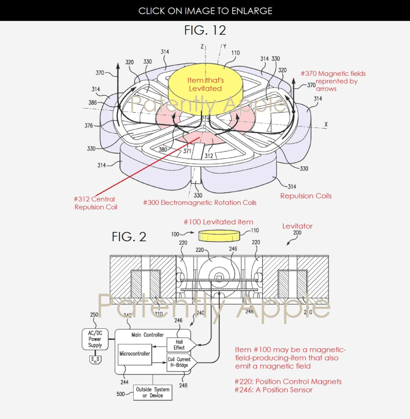 3 APPLE PATENT FIGURES FOR LEVITATING DEVICE