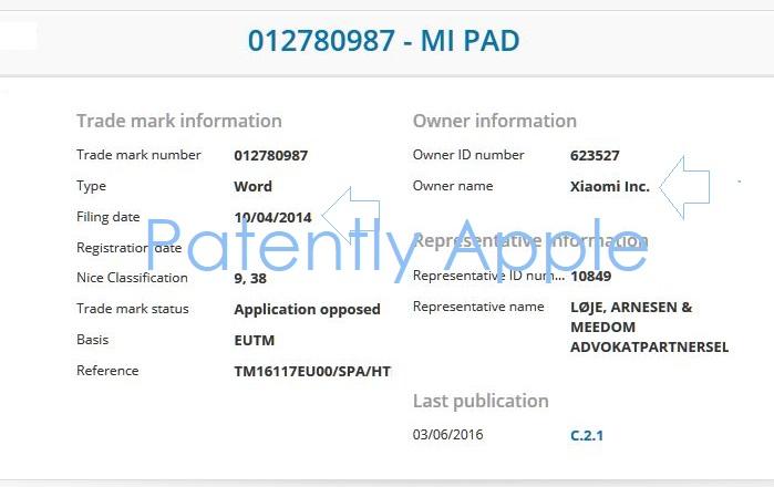 2 Xiaomi TM filing for Mi Pad 2014