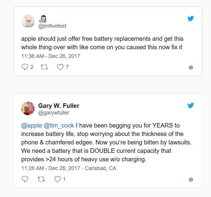 2 fan reactions to battery issue