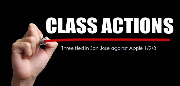 1 cover class actions - plural - 3 class action lawsuits against apple from San Jose