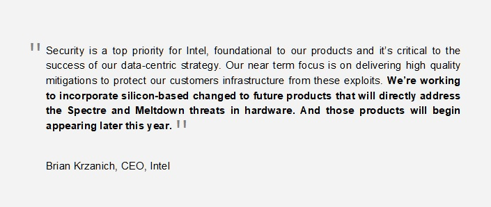 2 Intel message about silicon without Meltdown and Spectre