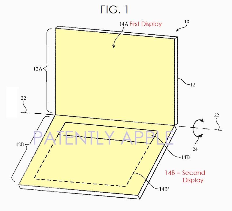 2 Apple patent FIG 1 DUAL DISPLAY KEYBOARD