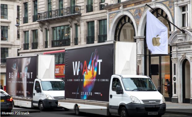 Huawei gets in Apple's Face with Ad-Trucks Driving in Front of Apple Stores in the UK Promoting their new Smartphone Launch