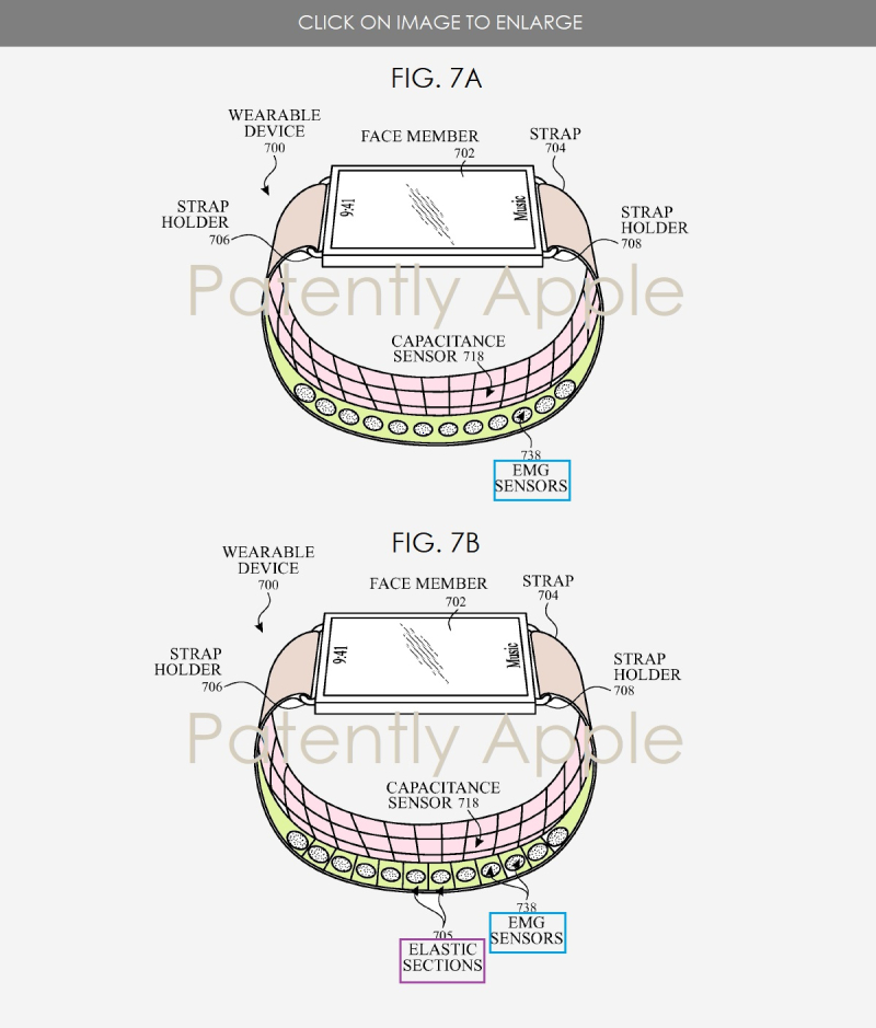 4 - Apple Watch - band with embedded sensors figs 7a b