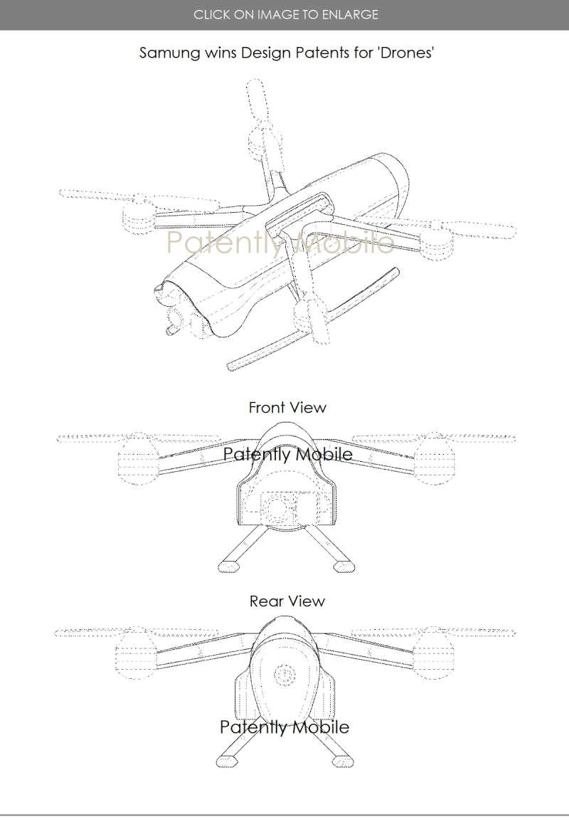3 Samsung design patent #2 for a drone Mar 2018