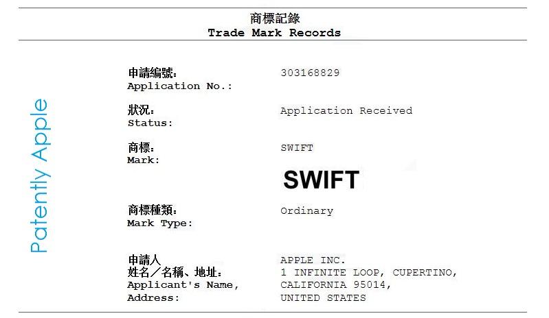 2AF - Hong Kong TM Apple filing for Swift