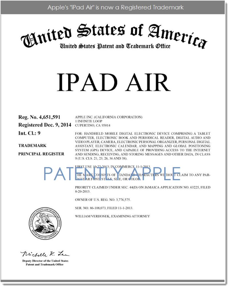 3AF 2 - IPAD AIR REGISTERED TM, APPLE DEC 2014