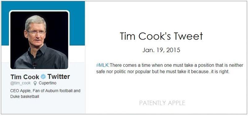 2af Apple's CEO tweet MLK Day - jan 19, 2015