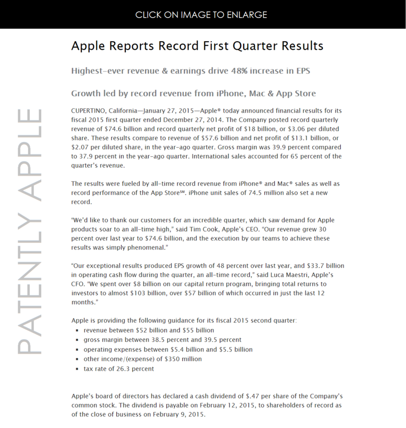 2AF - APPLE'S FINANCIALS REPORTED JAN 27, 2015