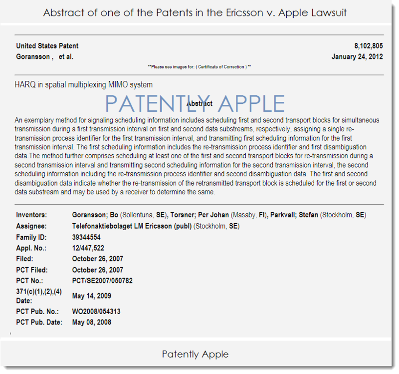 3AF - ONE OF THE PATENTS IN THE NEW FEBRUARY 2015 ERICSSON V. APPLE LAWSUIT
