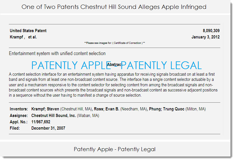 Chestnut Hill Sound Sues Apple For Patent Infringement Patently Apple