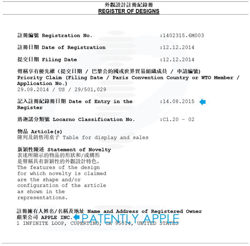 5AF 55 ONE OF APPLE'S GRANTED DESIGN CERTIFICATES FOR APPLE WATCH TABLES