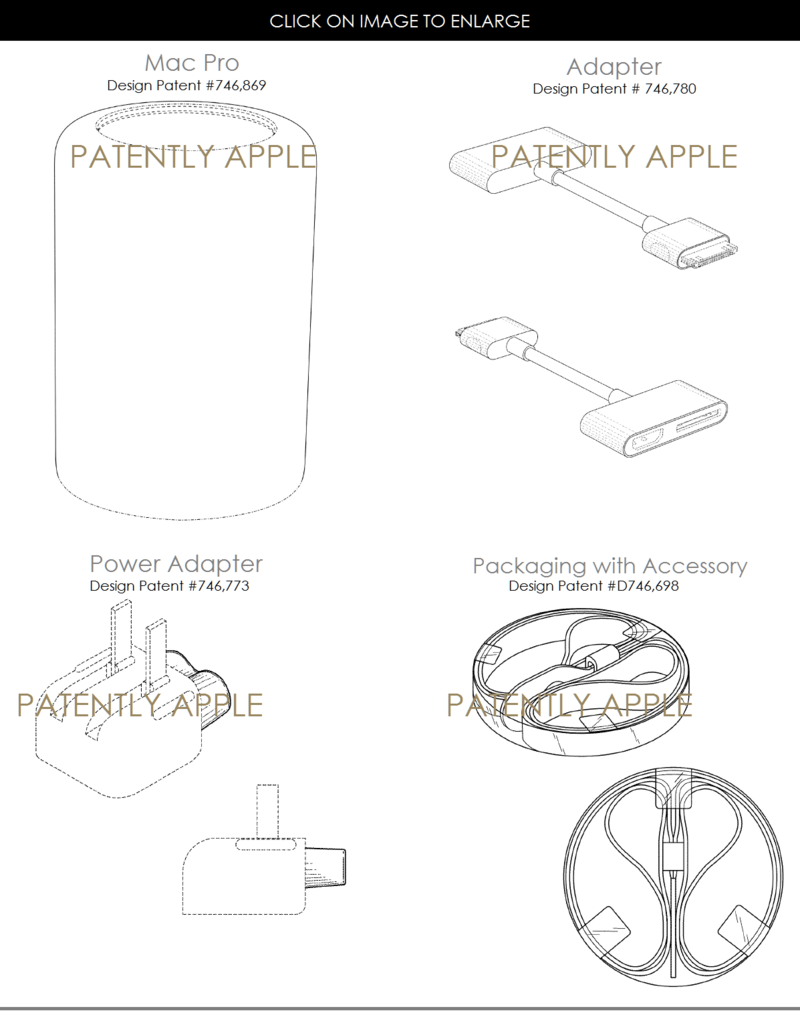 7AF VARIOUS DESIGN PATENTS FOR APPLE JAN 5, 2016