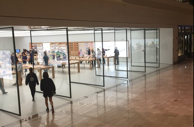 Apple's large glass doors