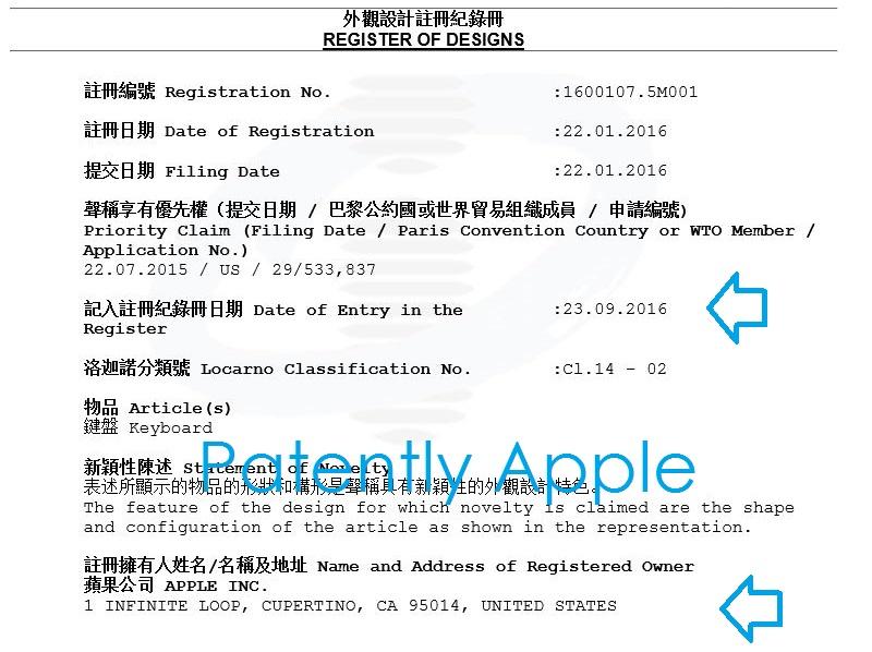 5af register of design hong kong, Apple, design patent, magic keyboard sept 25, 2016