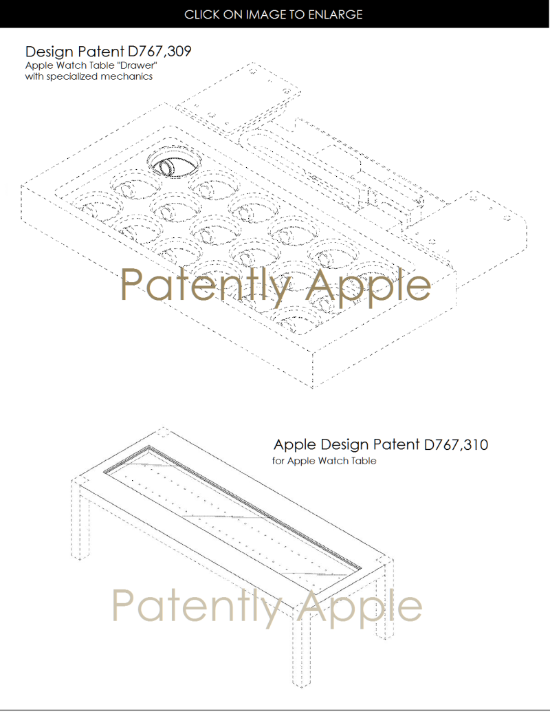 3 design patents apple, apple watch table and specialty drawer