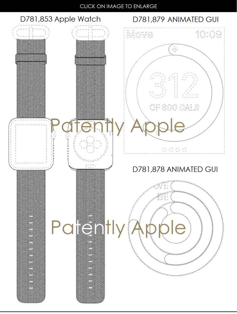 4af x99 design patents for apple watch and activity app animated GUI's