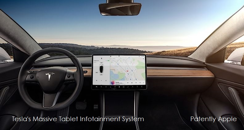 1AF COVER TESLA'S MASSIVE INFOTAINMENT SYSTEM ON DASHBOARD - PATENTLY APPLE REPORT